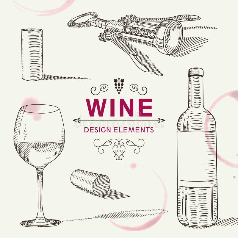 手拉的酒设计元素 库存例证
