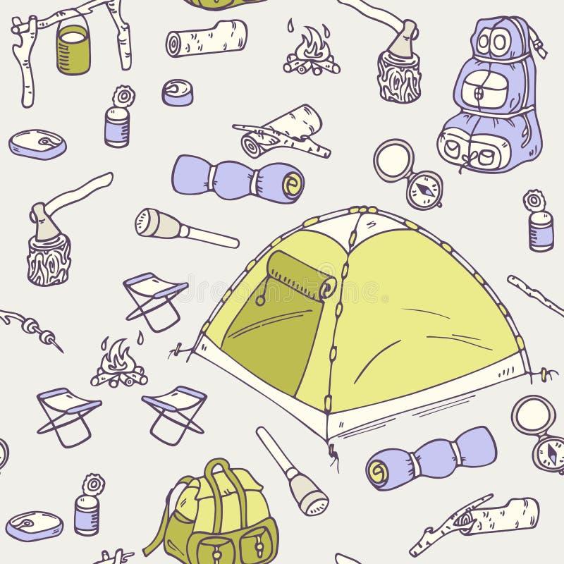 手拉的野营的无缝的样式 皇族释放例证