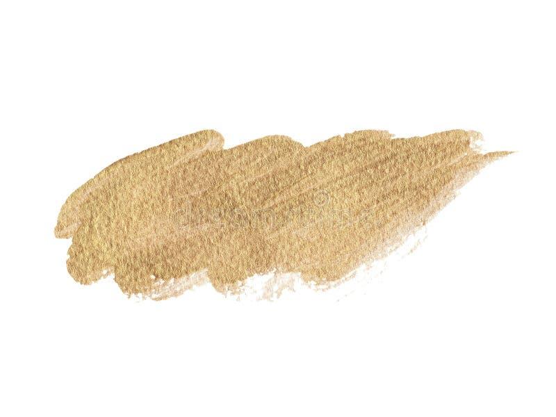 手拉的金子纹理油漆污点例证 丙烯酸酯的刷子冲程 库存例证