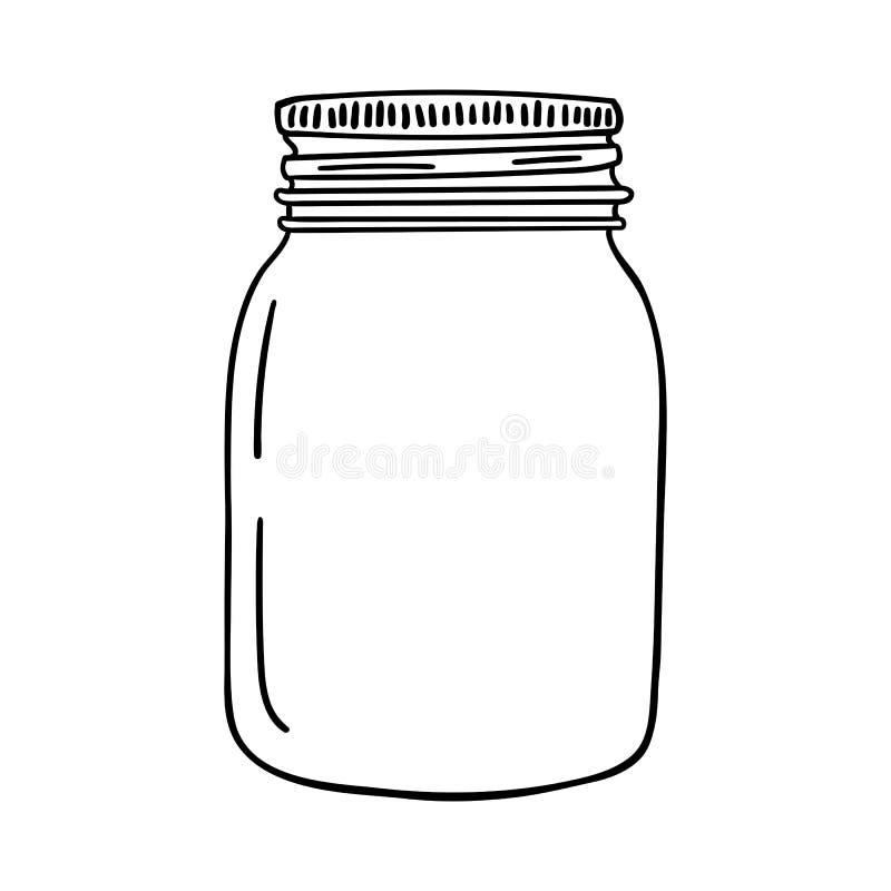 手拉的金属螺盖玻璃瓶 等高剪影 向量 向量例证