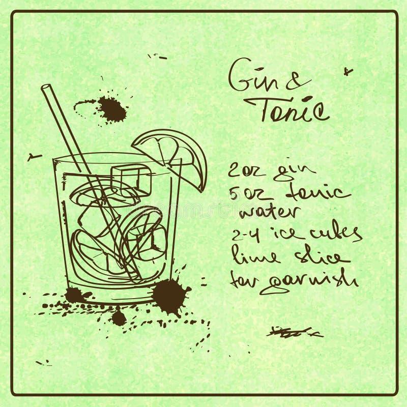 手拉的金汤尼鸡尾酒 库存例证