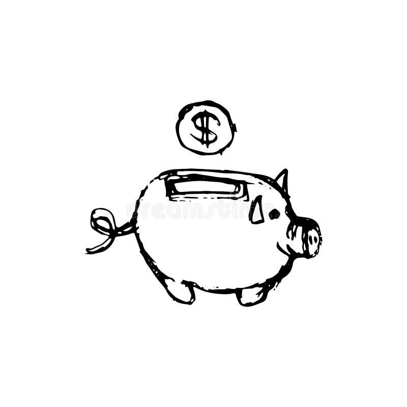 手拉的钱箱猪乱画象 手拉的黑剪影 Si 皇族释放例证