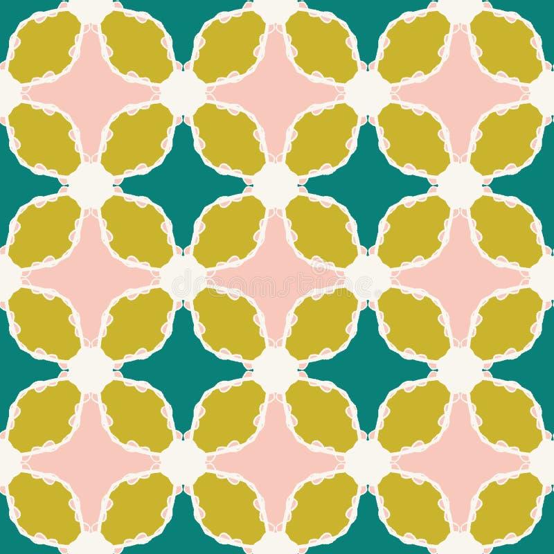 手拉的锦缎花卉样式 夏天传染媒介无缝的背景 时髦热带叶子绿色块例证 现代叶子 库存例证