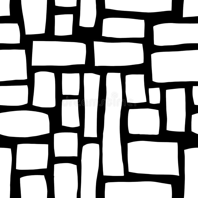 手拉的长方形塑造单色抽象无缝的传染媒介样式 在黑背景的白色块 背景被画的现有量 皇族释放例证