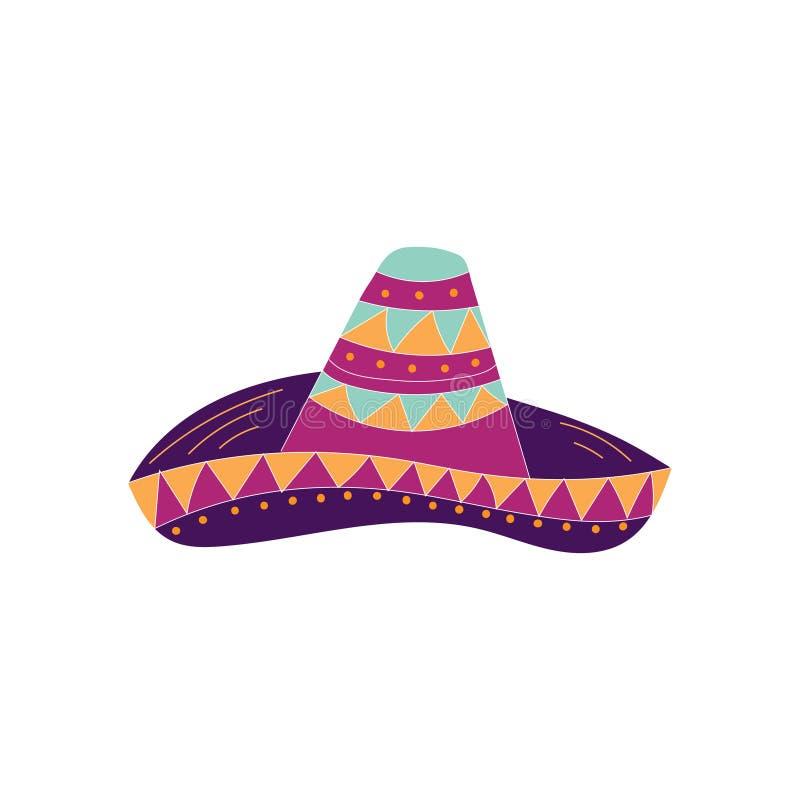 手拉的阔边帽象 能为横幅或卡片使用Cinco的de马约角 皇族释放例证