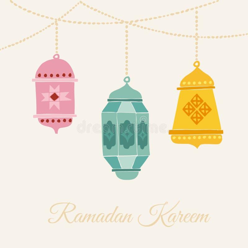 手拉的阿拉伯灯笼 卡片、邀请或者回教圣洁月赖买丹月Kareem 背景花新例证离开牛奶向量 向量例证
