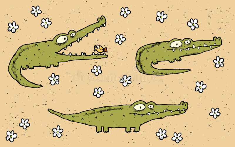 手拉的难看的东西例证套在f的三条逗人喜爱的鳄鱼 皇族释放例证