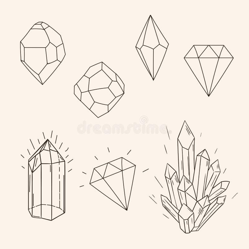 手拉的集合剪影水晶、金刚石和多角形图tatto 向量例证