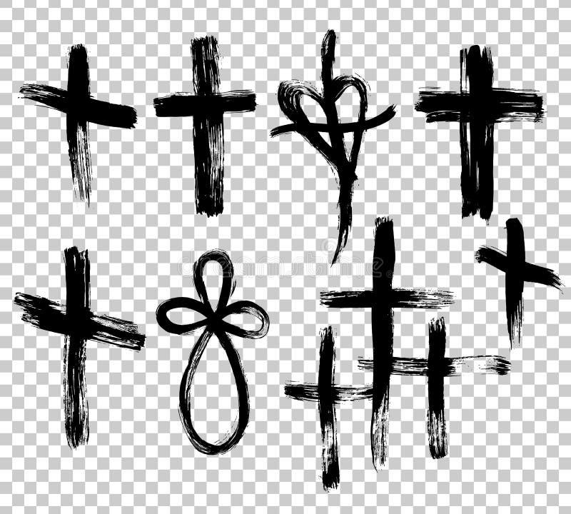 手拉的集合十字架 难看的东西十字架 用刷子冲程做的十字架 库存例证