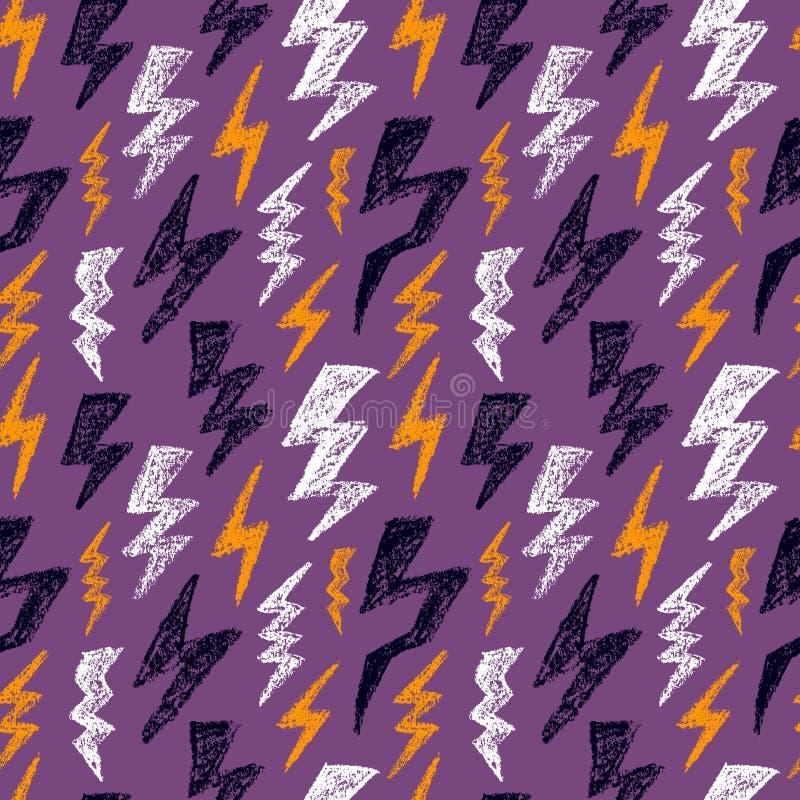 手拉的雷电无缝的样式 万圣夜颜色 时尚纺织品的设计纹理 也corel凹道例证向量 库存例证
