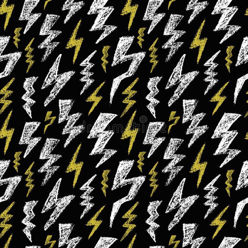 手拉的雷电无缝的样式 黑白色黄色 时尚纺织品的设计纹理 也corel凹道例证向量 向量例证