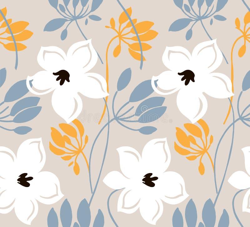 手拉的颜色传染媒介无缝的样式 与叶子,略图的抽象花 斯堪的纳维亚样式动画片花卉纹理 向量例证