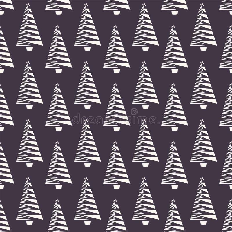 手拉的风格化圣诞树样式 棕色背景的几何抽象冷杉森林 在印刷品的逗人喜爱的寒假 皇族释放例证