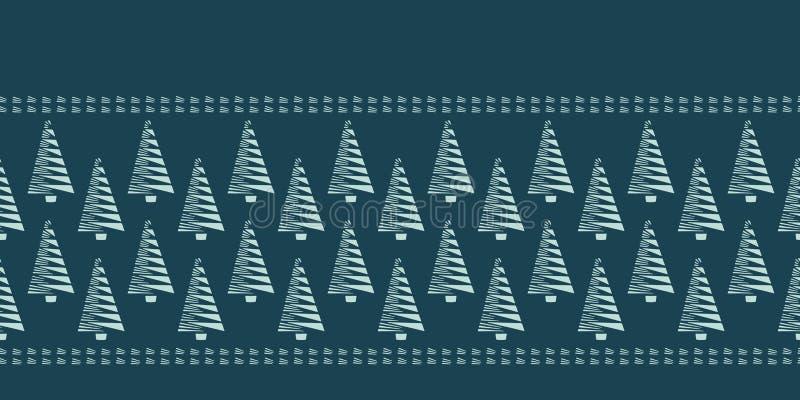 手拉的风格化圣诞树边界样式 绿色背景的几何抽象冷杉森林 逗人喜爱的寒假横幅 向量例证