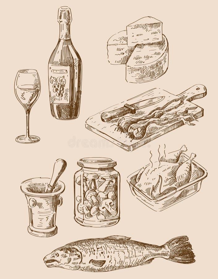 手拉的食物剪影 库存例证