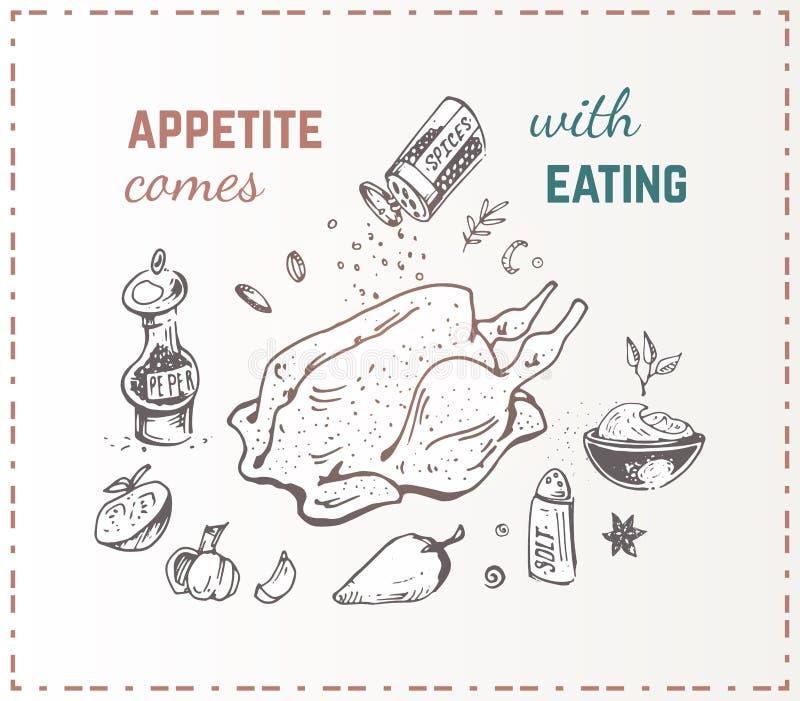 手拉的食物海报 鸡蔬菜 向量例证