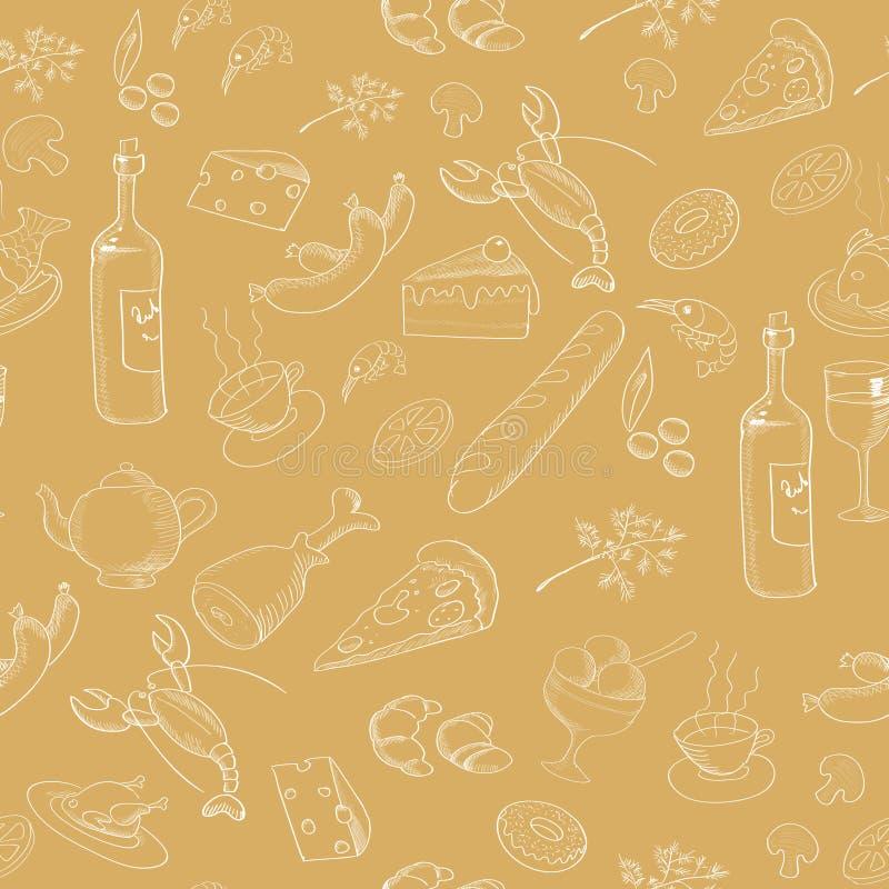 手拉的食物的汇集 无缝的模式 向量例证
