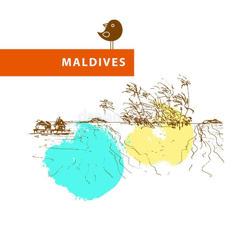 手拉的马尔代夫风景剪影 皇族释放例证
