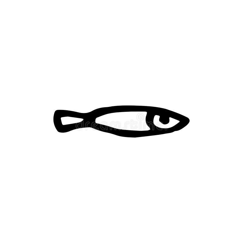 手拉的鱼乱画象 手拉的黑剪影 标志标志 库存例证