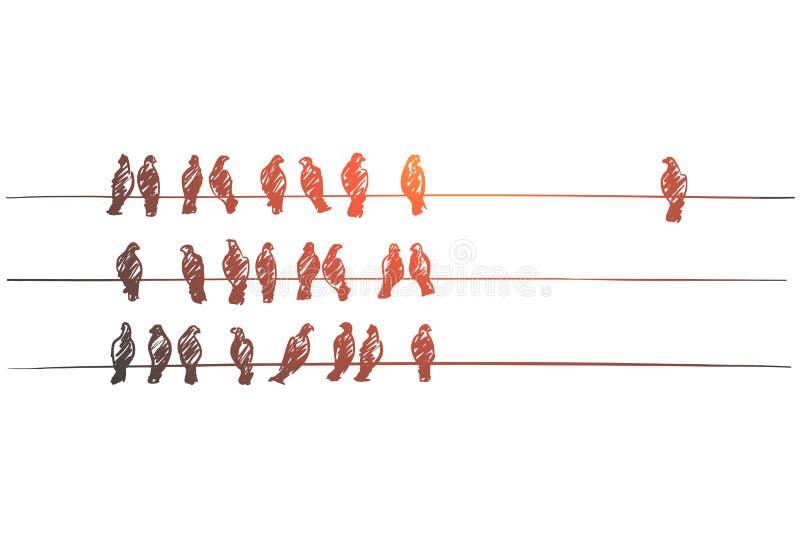 手拉的鸽子坐在三条线的导线 库存例证