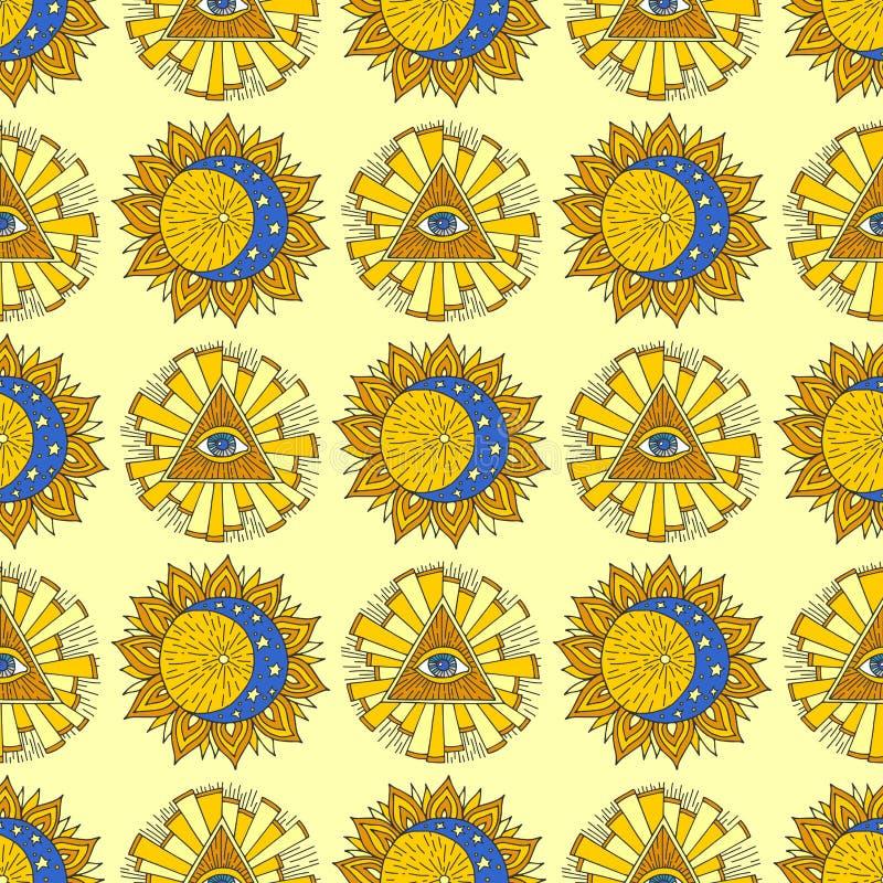 手拉的黄色太阳行星神秘的隐密神秘的无缝的样式背景星传染媒介例证 向量例证