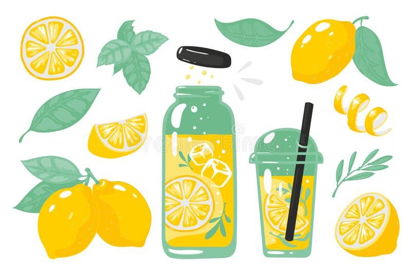 手拉的黄色柠檬 与切片的夏天冷的柠檬水柠檬玻璃瓶和秸杆 传染媒介乱画套柠檬 库存例证
