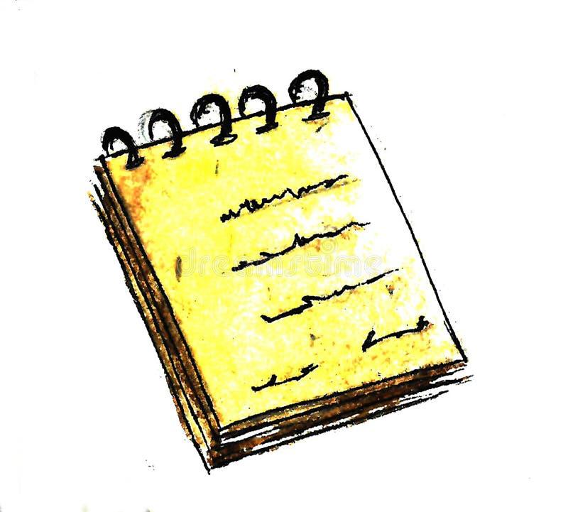手拉的黄色笔记本背景 r r 向量例证