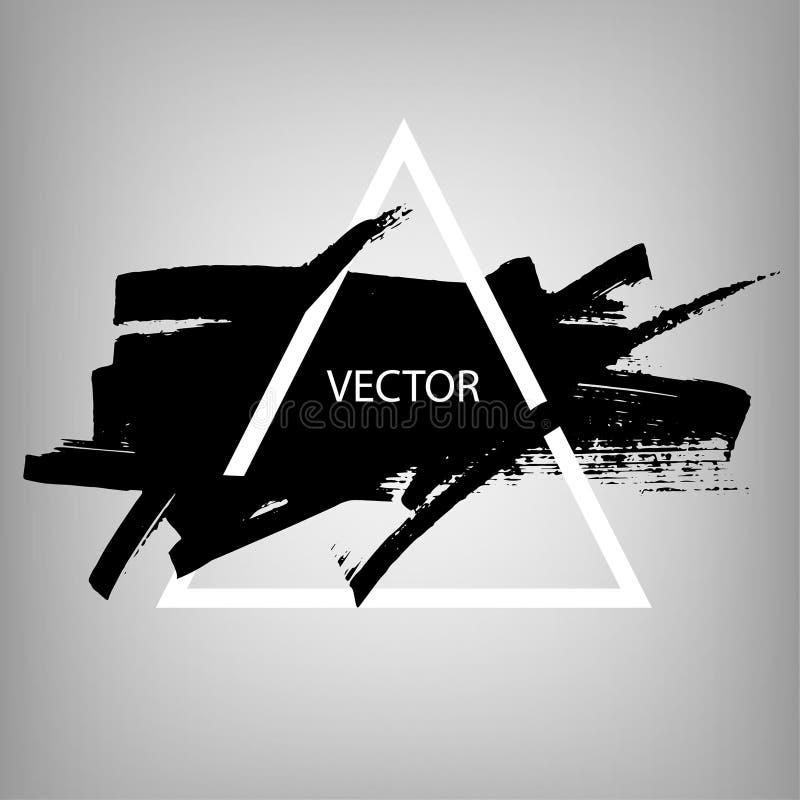 手拉的黑刷子冲程和纹理 强调和边界设计 掠过在方形的框架的黑油漆墨水冲程 向量例证