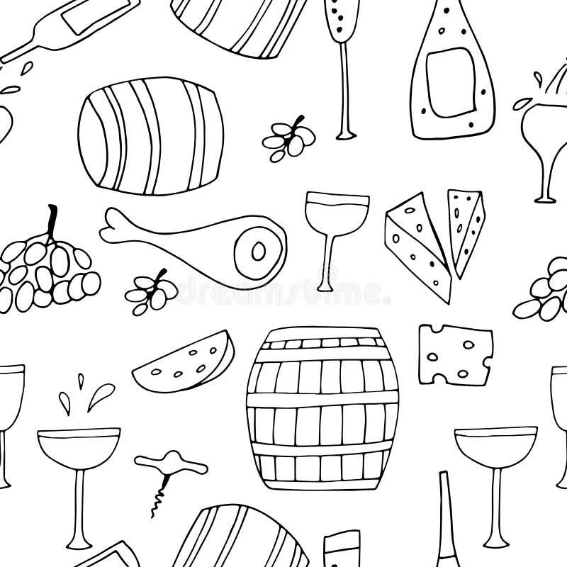 手拉的黑白传染媒介无缝的样式用乱画乳酪、酒杯、瓶和葡萄 略图 向量例证