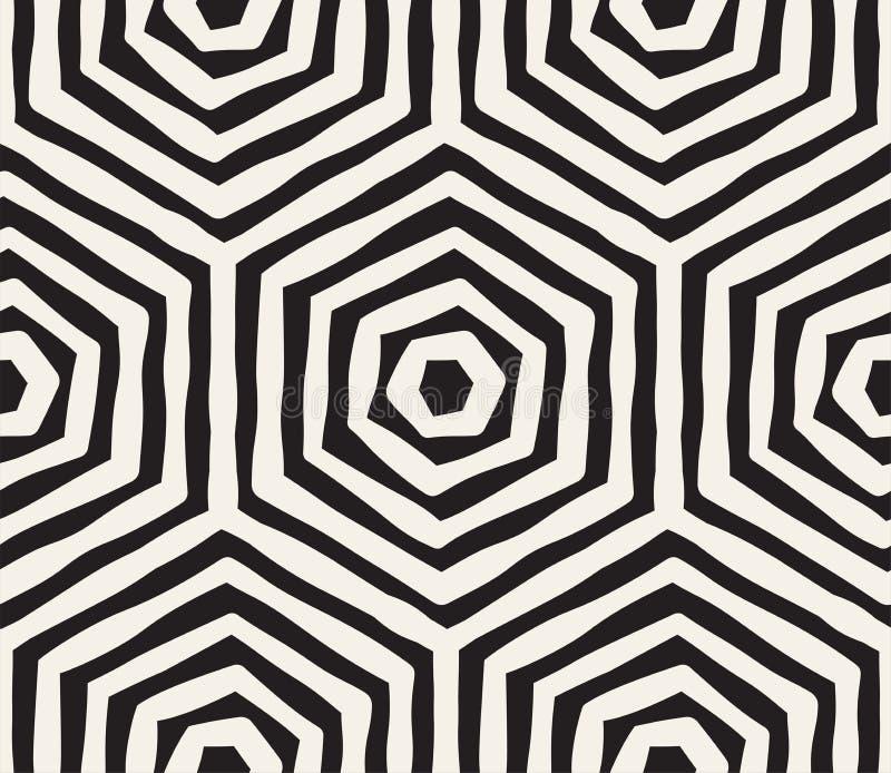 手拉的黑白墨水镶边无缝的样式 传染媒介难看的东西格子纹理 单色刷子抚摸线 皇族释放例证