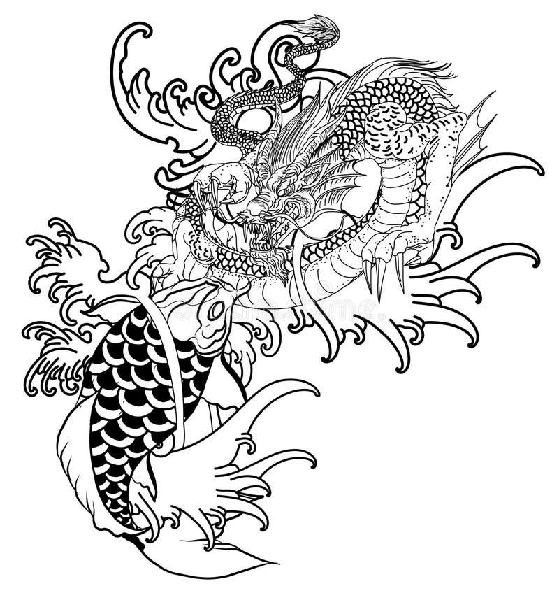 手拉的龙和koi钓鱼与胳膊的,日本鲤鱼线描彩图传染媒介图象花纹身花刺 皇族释放例证