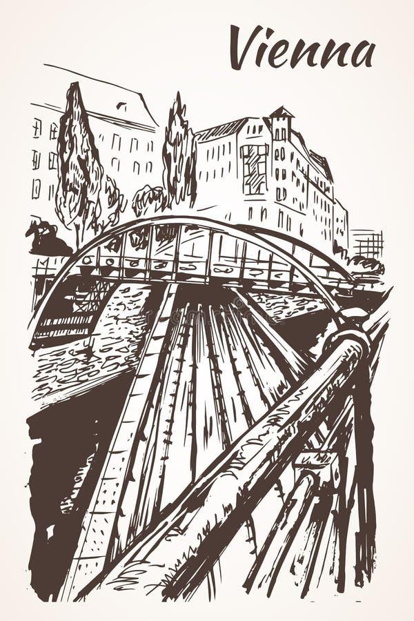 手拉的维也纳桥梁,火车路 皇族释放例证