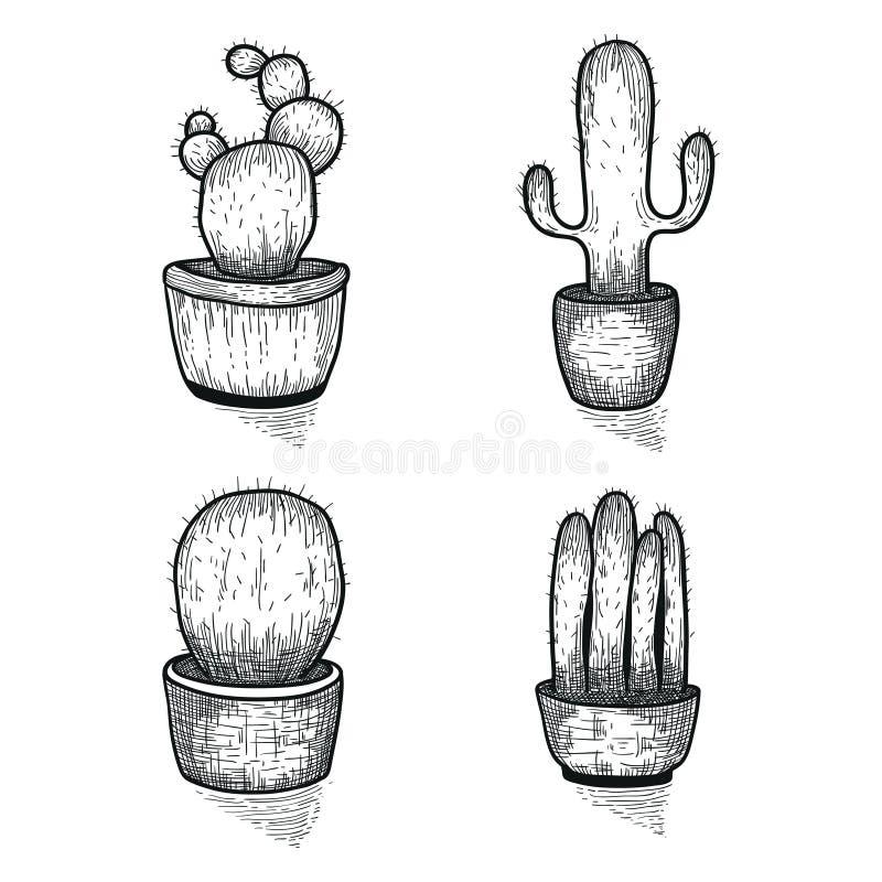手拉的仙人掌集合 在罐的乱画florals 导航与逗人喜爱的房子内部植物的植物的集合 库存例证