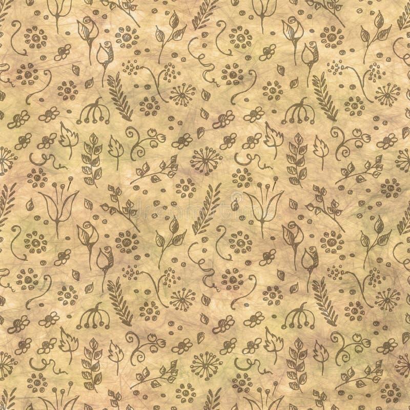 手拉的织地不很细花卉背景 与小的花和叶子的葡萄酒米黄模板 被弄皱的纸样式 库存例证