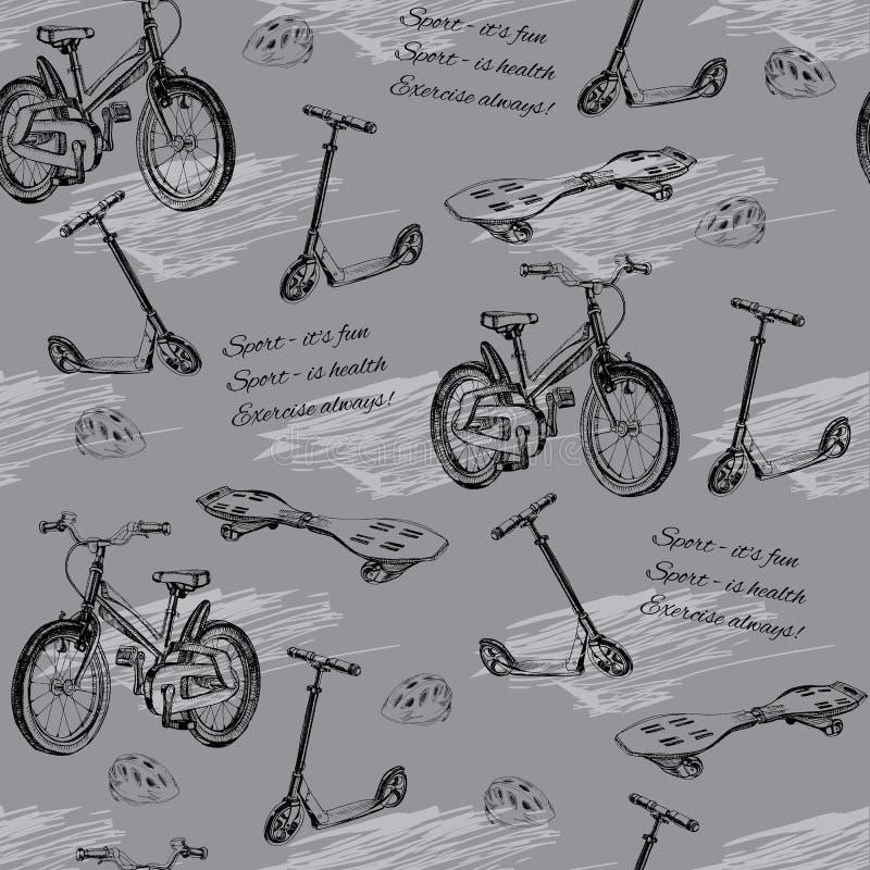 手拉的婴孩自行车, skateb的无缝的样式的例证 皇族释放例证