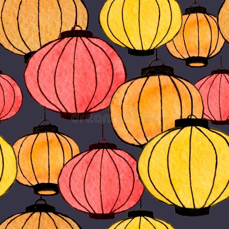 手拉的水彩中国灯笼无缝的样式 向量例证