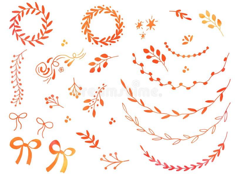 手拉的水彩乱画设计元素 皇族释放例证
