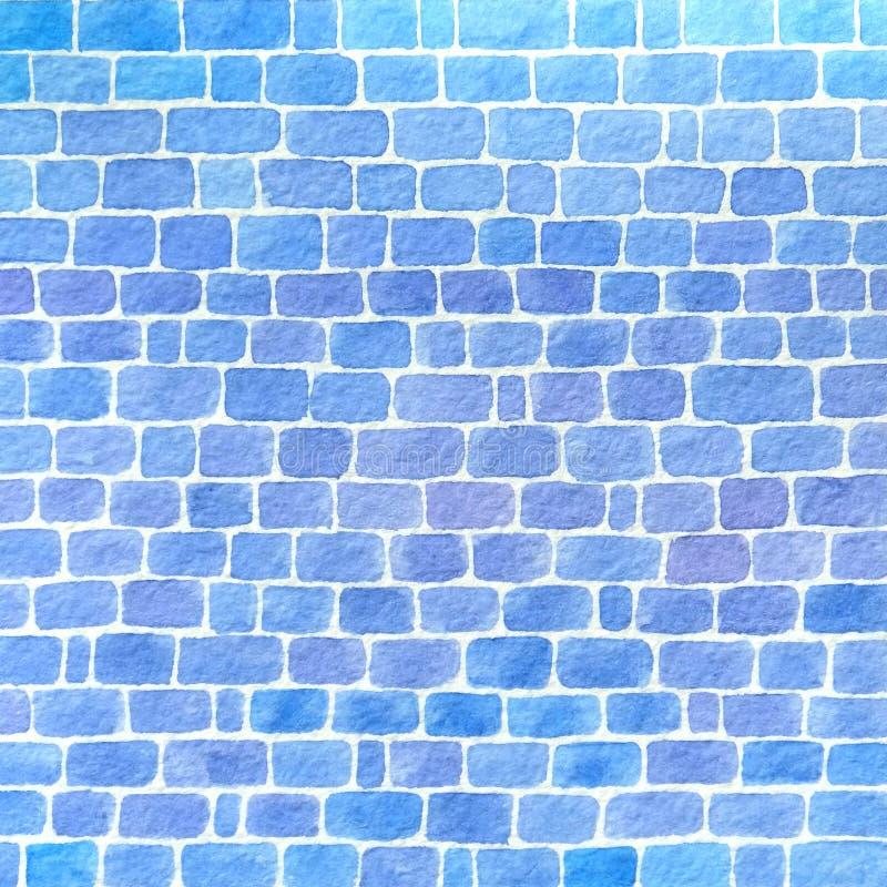 手拉的水彩墙壁由蓝色砖背景制成 免版税库存图片