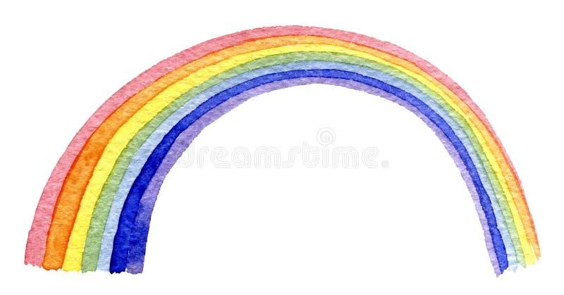 手拉的水彩彩虹 库存例证