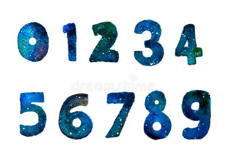 手拉的水彩星系或夜空与星从一个编号到九-零 库存照片