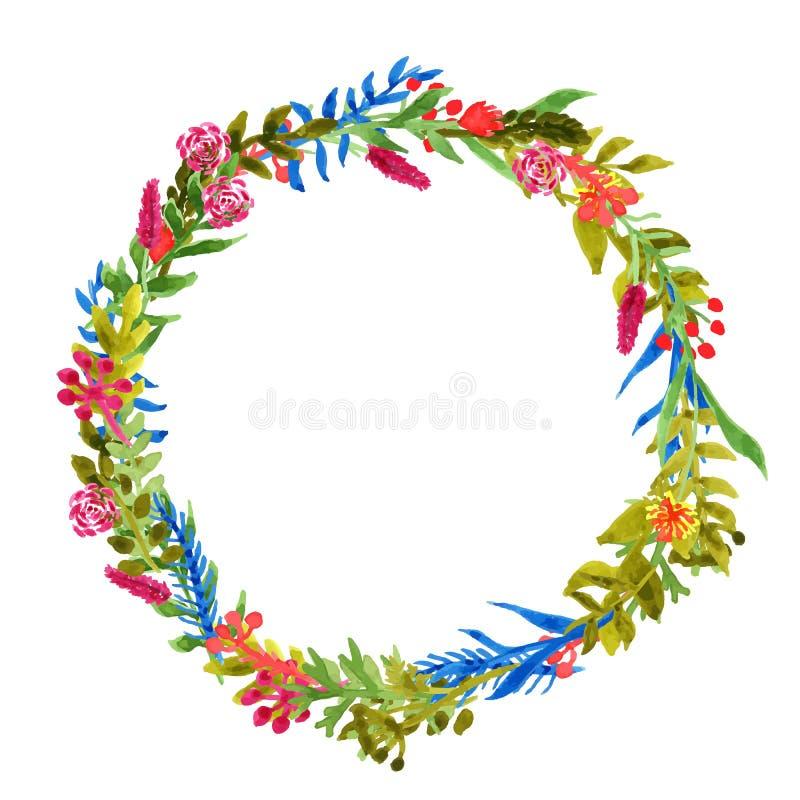 手拉的水彩花卉框架 皇族释放例证