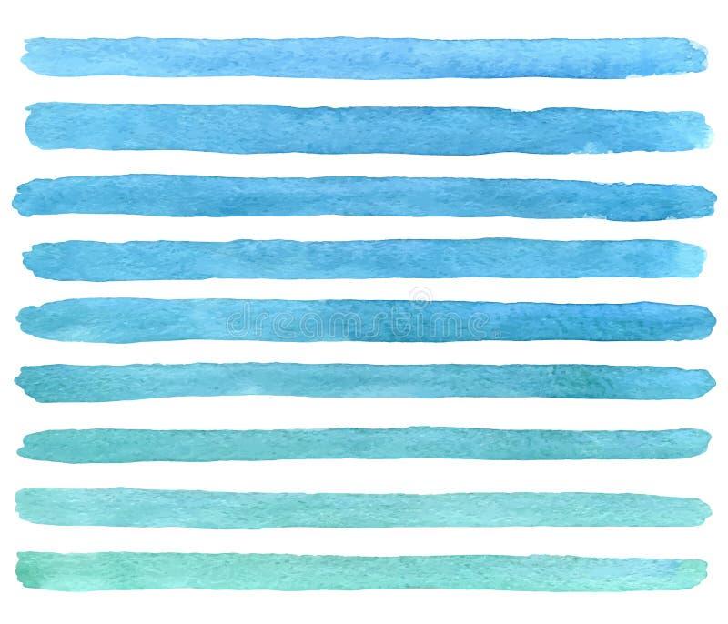 手拉的水彩蓝色刷子冲程 向量 库存例证