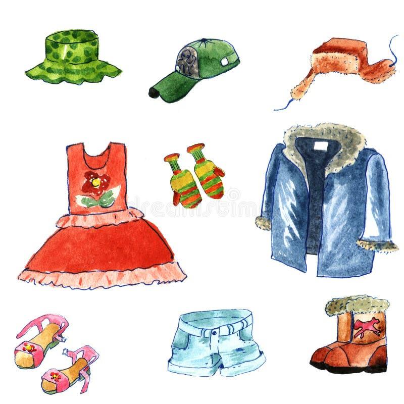 手拉的水彩给在白色背景的动画片样式穿衣 冬天和夏天布料:有耳朵挡水板的毛皮盖帽,皮大衣 库存照片