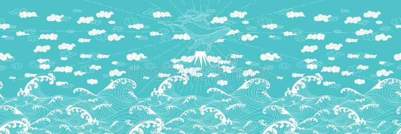 手拉的幻想无缝的乱画日本式 向量例证