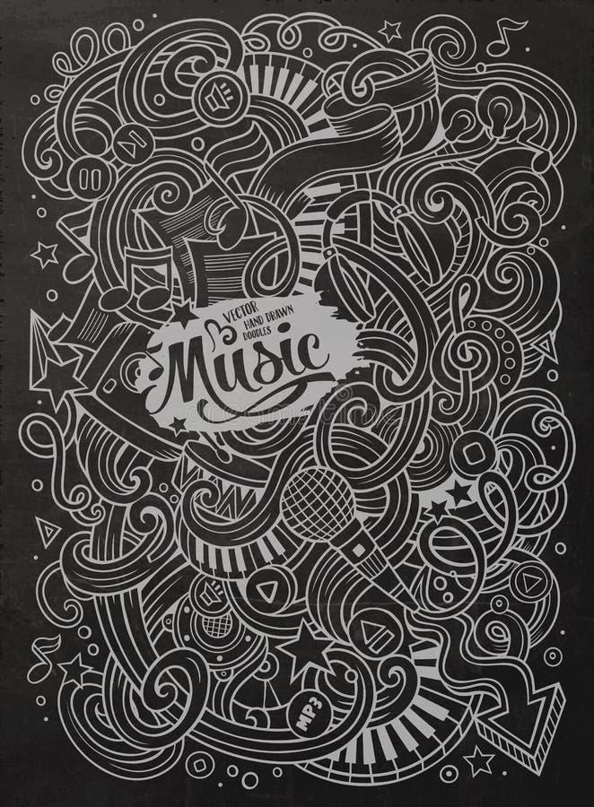 手拉的黑板乱画音乐例证 向量例证
