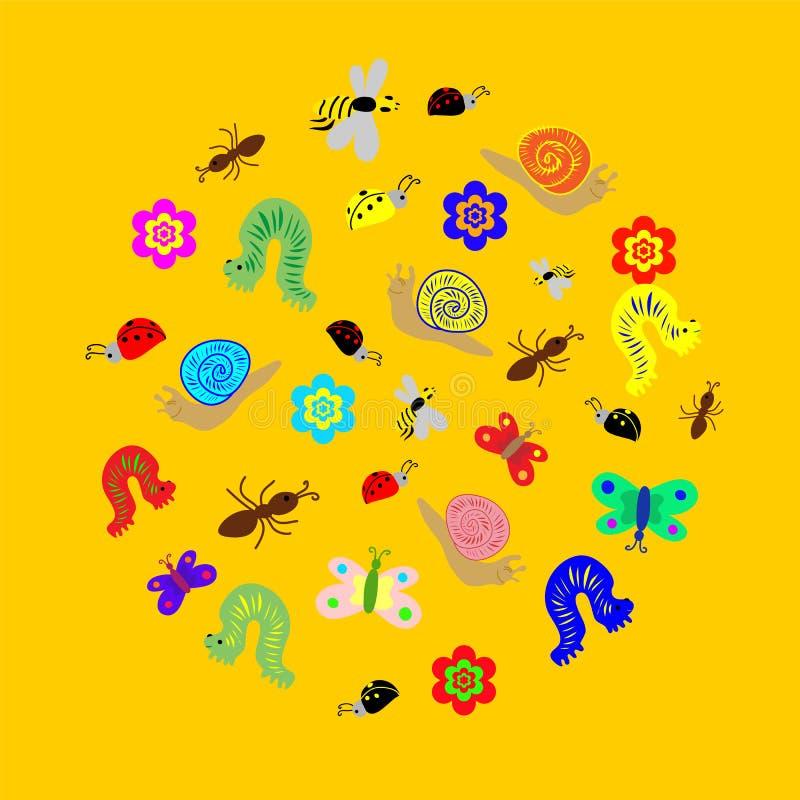 手拉的滑稽的乱画昆虫在圈子形状安排了  五颜六色和逗人喜爱的毛虫,蠕虫,蝴蝶,蜂,蚂蚁 向量例证