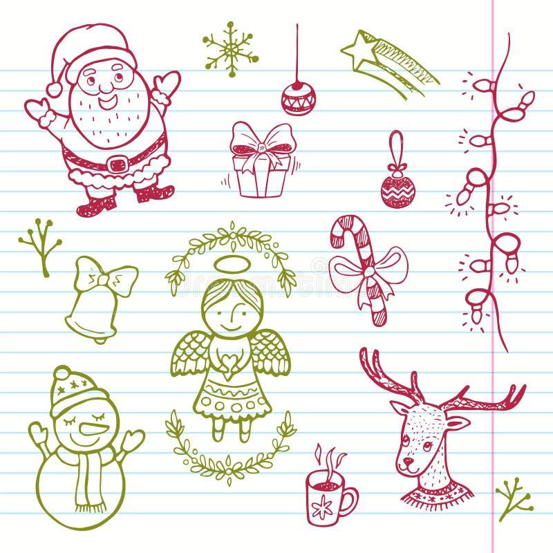 手拉的滑稽的圣诞节集合 库存照片