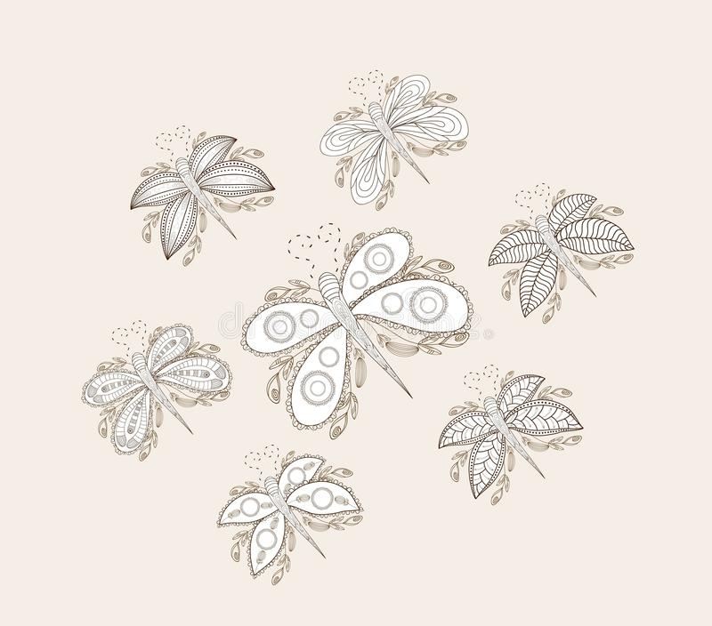 手拉的蝴蝶概略笔记本乱画设计元素 向量例证