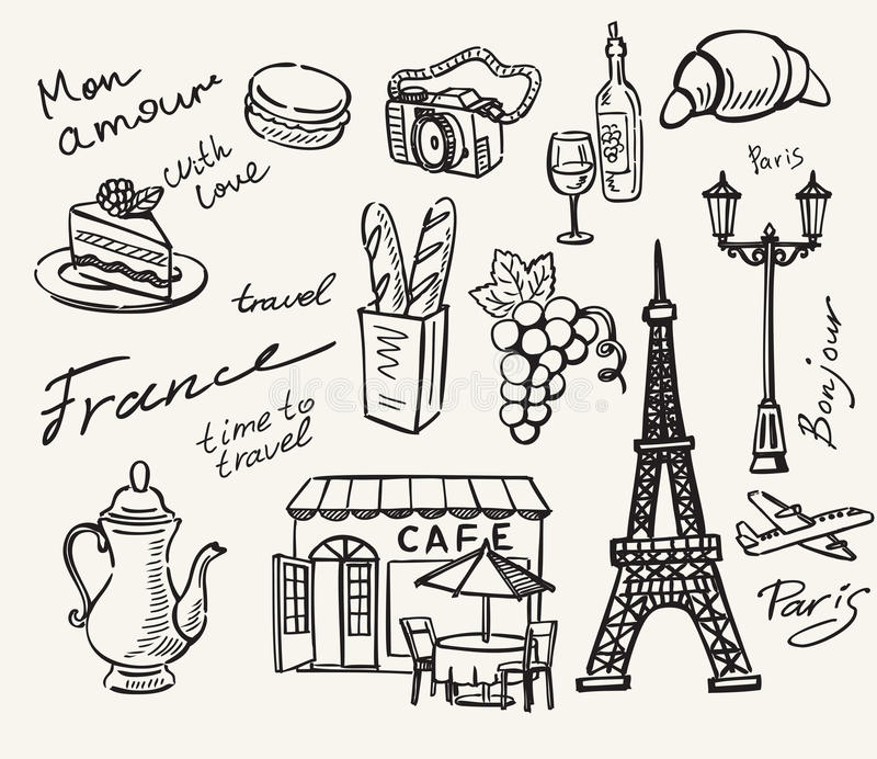 Download 手拉的巴黎 向量例证. 插画 包括有 巴黎, 埃菲尔, 餐馆, 地标, 法国, 点心, 乱画, 装饰, 减速火箭 - 62535920