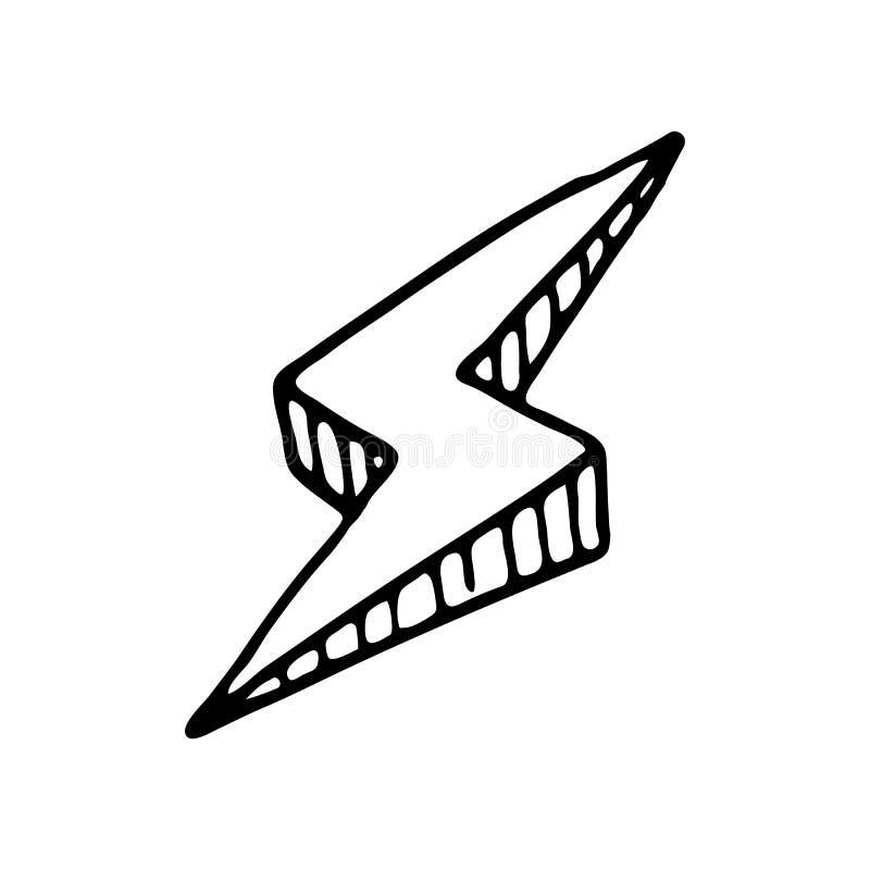 手拉的3D闪电乱画象 手拉的黑剪影 信号 向量例证